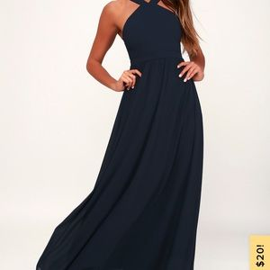 Lulu's Dresses - Air of romance navy blue dress